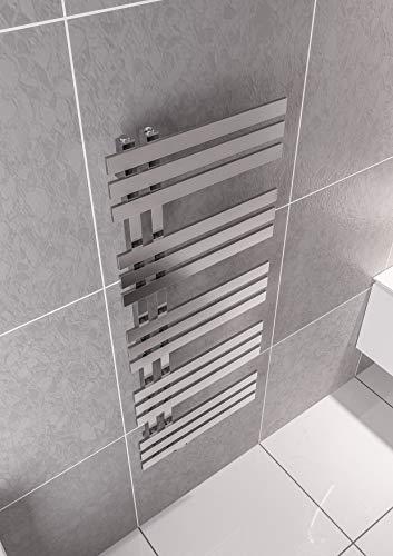 Mert ELEN Design Heizung Paneelheizkörper gerade elektrisch oder Warmwasser 1/2 Zoll Bad-Heizung 1200x500 Bad-Heizkörper Anschluss 50 mm chrom Handtuchhalter für Wandmontage