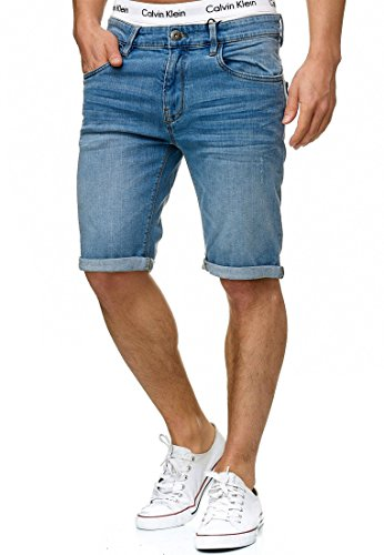 Indicode Homme Caden Short en Jean avec 5 Poches 98 % Coton | Court Denim Stretch Pantalon Used Look Washed Destroyed Regular Fit Men Pants De Loisirs pour Homme Blue Wash XXL