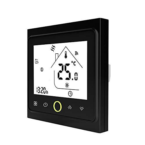 Festnight WiFi-thermostaat met touchscreen-LCD-scherm wekelijks programmeerbare, energiebesparende, intelligente temperatuurregelaar voor waterverwarming 3A