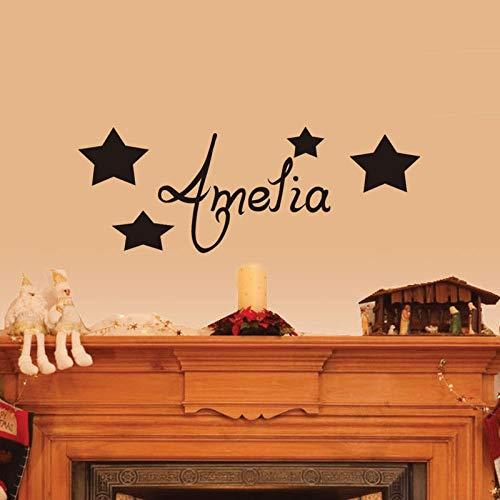 Aicedu muurstickers, sterren, personaliseerbaar, voor elke naam baby, kinderkamer, vinyl, muurstickers, voor thuis, kinderen, kamer, afneembaar, maat S 150 x 56 cm