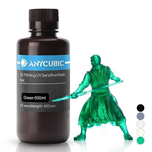 ANYCUBIC Stampate 3D UV Resina 405nm Fotopolimerica Rapida per Photon S Liquido 3D Resin Universale alta Precisione per Stampanti LCD/DLP/SLA 3D, 1L-Verde Trasparente