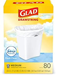 8 gallon plastic trash BAGS: handle daily household and everyday demands with Glad Medium sized 8 gallon garbage bag 80 Count Neutralize odor: OdorShield technology works to trap and lock odors with neutralizing power eliminate smells in the kitchen ...