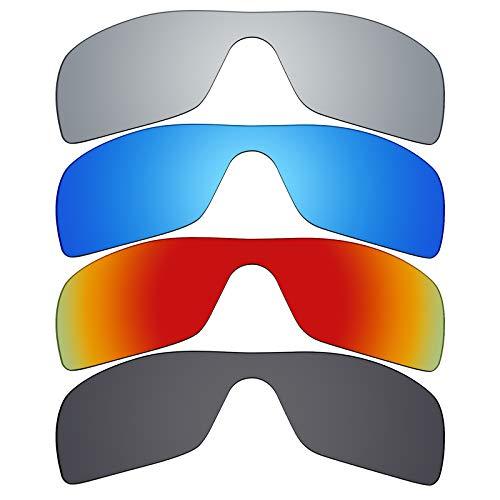 MRY 4pares polarizadas lentes de repuesto para Oakley Batwolf sunglasses-stealth negro/fuego rojo/hielo azul/plata titanio