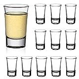 Amisglass Set 12 Vaso de Chupito, Vasos de Licor de Cristal sin Plomo, Vasos de Chupito Originales para Vodka, Tequila, Bebidas Licor, Ideal de Bar, Restaurantes, Fiesta, 80 ml