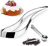 Stainless Steel Cake Slicer with Korean Spoons, Ovelur Cake Pie Slicer Sheet Guide Cutter Server Bread Slicer Pie Knife Cake Lifter Cooking Tools