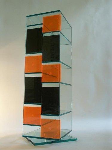 Paul Snajdar Glasregal JANUS 95 cm drehbar CD-Turm CD-Ständer CD DVD Blu-ray disc