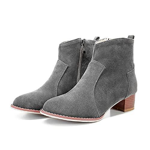 JUNSHANG Tacón Cuadrado Botas Cortas de tacón Medio, Toe Redondo Casual Lacas de Cordones de bajo Corte de bajo Corte Zapatos Individuales All-Match Outdoor Home Shoes,Grey-39