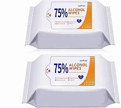 160 toallitas húmedas de 75 % de alcohol, detergente portátil, toallitas húmedas grandes para limpiar manos, computadora, teléfono móvil, juguetes, hogar, oficina (80 unidades/paquete)