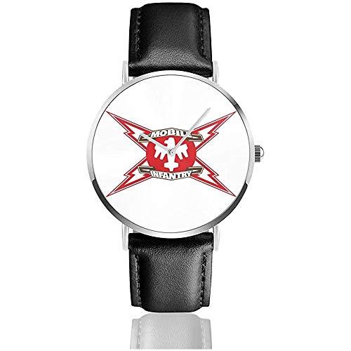 Unisex Mobile Infantry Starship Troopers Uhren Quarzlederuhr mit schwarzem Lederband