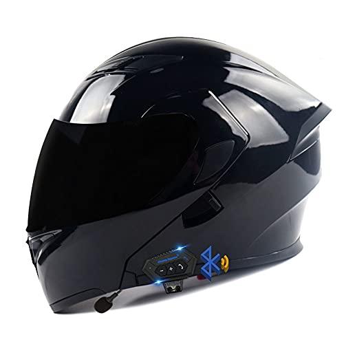 Casco De Moto Modular Bluetooth Integrado, ECE Homologado, con Doble Visera Cascos De Motocicleta,Lente De PC De Alta Definición, Transpirable Y Cómoda, para Mujeres Y Hombres