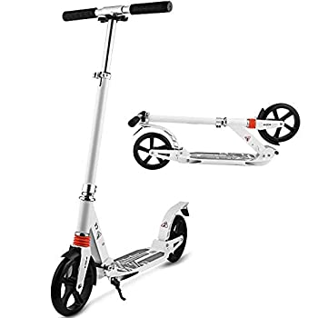 Hikole Scooters for Adults Teens Kick Scooter with Adjustable Height Dual Suspension and Shoulder Strap 8 inches Big Wheels Scooter Smooth Ride Commuter Scooter Best Gift for Kids Age 10 Up