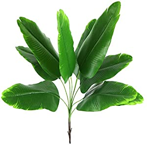 Artificial Plant Fake Banana Tree Leaves with Stems Faux Palm Tree Imitation Frond Artificial Leaf Tropical Plants Greenery Floral Arrangement Hawaiian Luau Jungle Beach Wedding Party