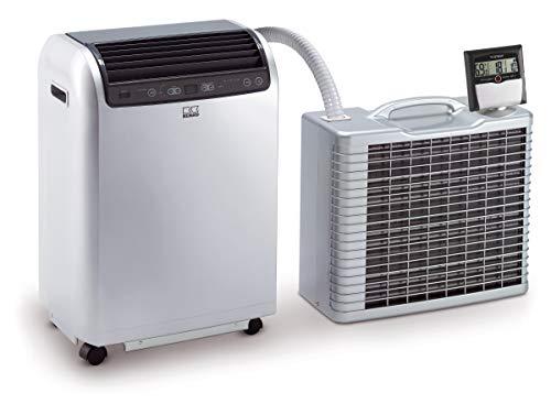 REMKO Lokales Raumklimagerät RKL 495 DC, silber (Split-Ausführung, Klimagerät für ca. 120m³, Kühlleistung 4,3 Kw, incl. Fernbedienung und TFA Dostmann Thermo-Hygrometer zur Klimakontrolle) 1616496