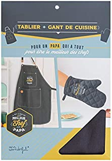 Mr. Wonderful 1 - Delantal + Guante de Cocina, Tela de algodón, Multicolor, único