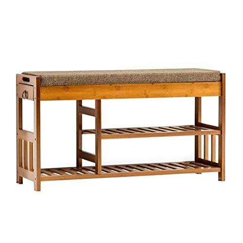 WEIZI sedie Scarpiera Scarpiera in bambù Cuscino Sedile Cuscino Scarpiera Panca Portaoggetti Organizzatore Cassetti Resistente Resistente (Colore: T1 Dimensioni: 90cm)