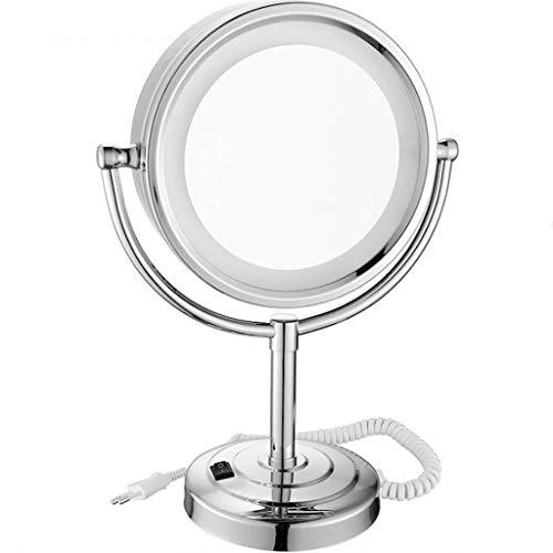 Miroir Maquillage, Miroir grossissant à LED avec coiffeuse Miroir double face pivotant à 360 ° (Color : 5X)