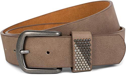 styleBREAKER Gürtel mit zweifarbigen Nieten an der Schlaufe, Nietengürtel, kürzbar, Unisex 03010088, Größe:90cm, Farbe:Taupe