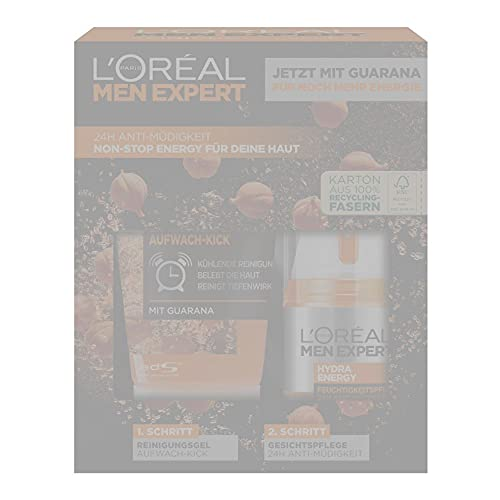 LOréal Men Expert Geschenkset für Männer, Mit Waschgel und 24h Feuchtigkeitspflege mit Guarana und Vitamin C, Hydra Energy Pflegeset, 1 x 332 g