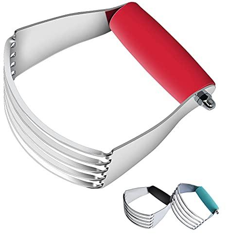 Batidora de masa, cortador de repostería de acero inoxidable, herramienta de cocina manual (1, rojo)