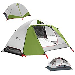 MOON LENCE Camping Tent 1 and 2 Person Backpacking Tent Double Layer Portable Outdoor Lightweight Tent Waterproof Wind…