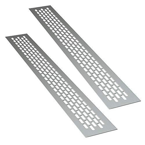 sossai® Aluminium Lüftungsgitter - Alucratis (2 Stück)   Rechteckig - Maße: 48 x 6 cm   Farbe: Aluminium   eloxiert
