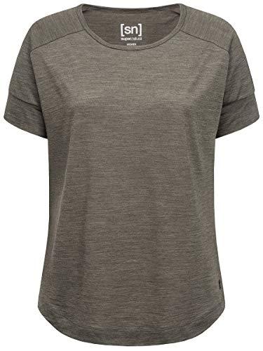 super.natural Weites Damen T-Shirt, Mit Merinowolle, W ISLA TEE, Größe: M, Farbe: Khaki meliert