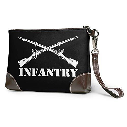 BFDX Armee Infanterie Zweig Insignien Militär Frauen Leder Geldbörsen Kupplung Telefonkarten Brieftaschen