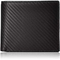 [アバン] 本革 カーボンレザー 二つ折り 財布 内装:小銭入れ 札入れ X1 カードポケット X16 ブラック