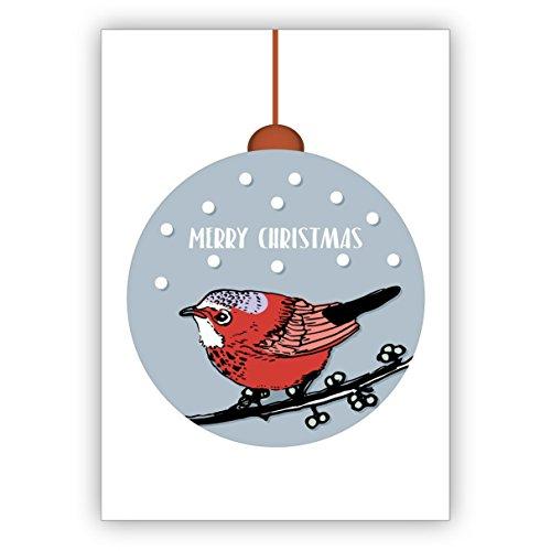 Elegante, moderne kerstkaart met kleine vogel in kerstbal in de sneeuw: Merry Christmas • Kerstmis wenskaarten set met enveloppen voor het feest van de liefde voor familie en vrienden 16 Grußkarten
