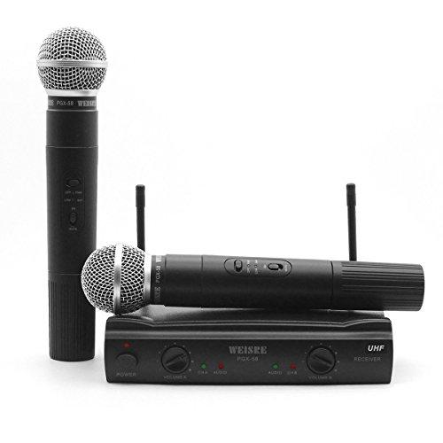 Microfono wireless, Microfono VHF professionale a doppio canale Sistema di microfono wireless con 2 microfoni trasmettitori dinamici portatili per feste, conferenze, karaoke (PGX58)