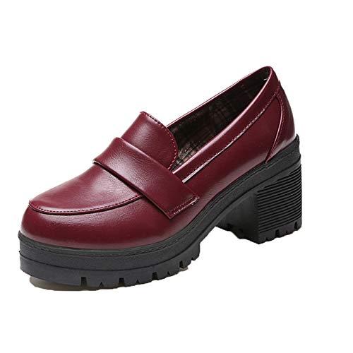 Zapatos de tacón de Bloque de Color sólido para Mujer, Mocasines de Cuero PU, Estilo Universitario, sin Cordones, con Boca Baja, Primavera y otoño, Zapatos Mary Jane