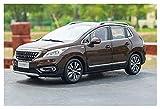 Modelos de Autos, 1/18 para Peugeot 3008 2016 SUV Modelo de aleación Diecast Metal Car para la colección de bebés para niños Boys Girls Regalo, WQQWQQQ-8521. (Color : Brown)