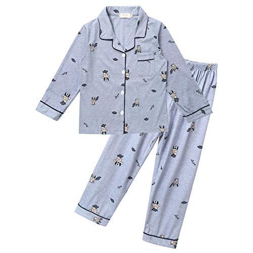 TiaoBug Pijamas para Niños de Algodón Invierno Manga Larga Estampado Ropa de Dormir con Botones Pijamas Conjuntos con Pantalon Largo Chicos Gris 11-12 años