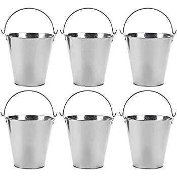 Juvale 6 Pack Galvanized Metal Buckets for Beer Ice Wine Champagne Parties Centerpiece  7 inch Silver