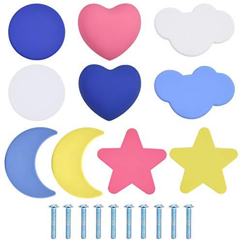 Jinlaili Pomos de Puerta, 10 pcs Tirador para Cajón, Tiradores de Puerta para Niños en forma de Estrella, Luna, Redonda y Nube en Amarillo, Rosa, Blanco, Azul y Azul Real para el Cajón del Arm