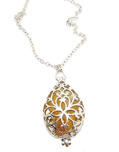 Amuleto talismán Collar Relicario de piedras preciosas con citrino natural