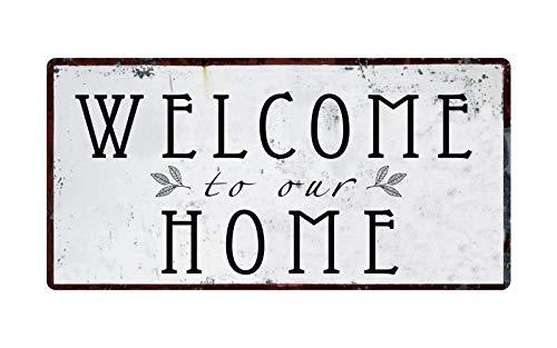 """BDTS Welcome To Our Home - Placa de aluminio para colgar con texto en inglés """"Welcome To Our Home"""" (20 x 30 cm)"""