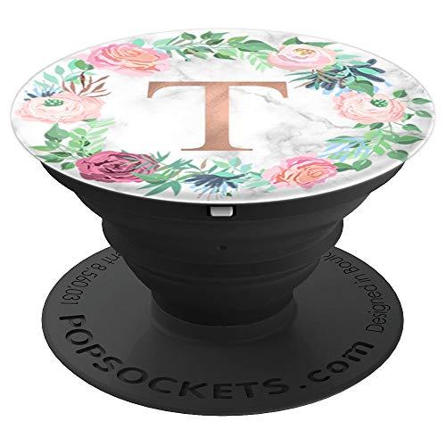 Rose Gold Letter T Marble PopSocket Monogram Initial T PopSockets Grip and Stand for Phones and Tablets