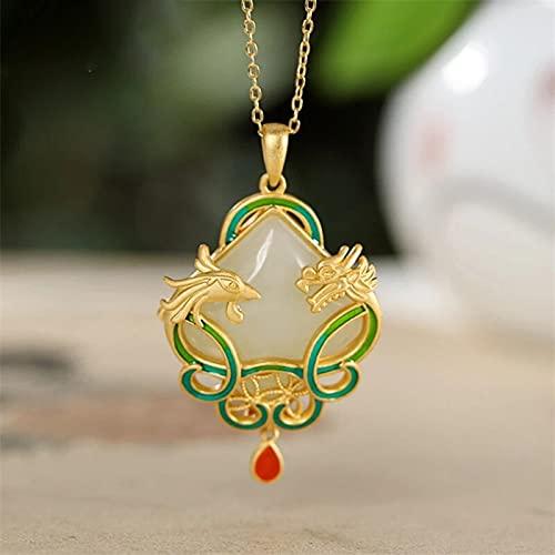 YANGYUE Diseñador Original de Oro Antiguo con Incrustaciones de dragón y Fénix Natural Hetian Jade Collar Colgante Estilo Chino joyería de Las señoras