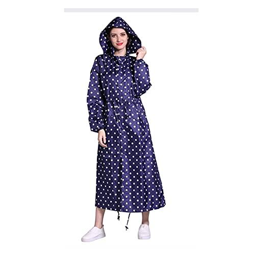 AdorabFruit Chubasquero portátil de viaje largo para mujer, ponchos impermeable y transpirable para mujer (color: punto azul, tamaño: L.)