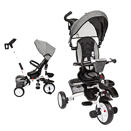 Baby Tricycle, 6-in-1 Kids Stroller Tricycle with Rotatable Seat, Detachable Guardrail, Adjustable Canopy, Safety Harness, Foldable Steer Stroller for Toddler Boys and Girls