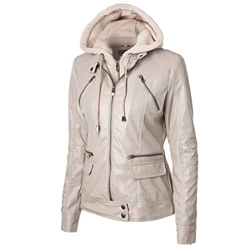 Leren jack voor dames, winter, meerdere ritssluitingen, met afneembare capuchon, eenkleurig, lange mouwen, motorjas van leer