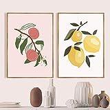 YQLKC Nordic Fruit Canvas Gemälde Wandkunst Zitrone Orange
