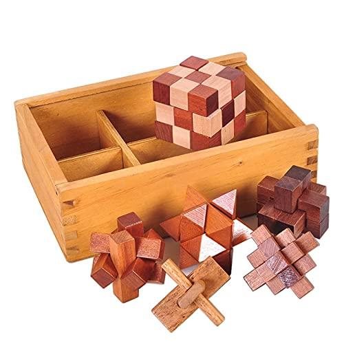 CYLYFFSFC Cubos de madera 3d para niños y adultos ensamblaje de juguetes de inteligencia educativa de madera juguetes clásicos candado Kongming candado Luban juego Kongming caja de madera de seis piez