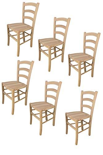 t m c s Tommychairs - 6er Set Stühle Venezia für Küche und Esszimmer, robuste Struktur aus poliertem Buchenholz, unbehandelt und 100% natürlich, Sitzfläche aus poliertem Holz
