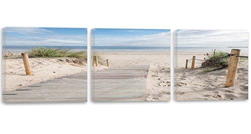 Feeby Frames, Cuadro en lienzo - 3 partes - Panorámico, Cuadro impresión, Cuadro decoración, Canvas 150x50 cm, PLAYA, ARENA, AGUA, HIERBA, PAISAJE, VISTA, MARRÓN, VERDE, AZUL