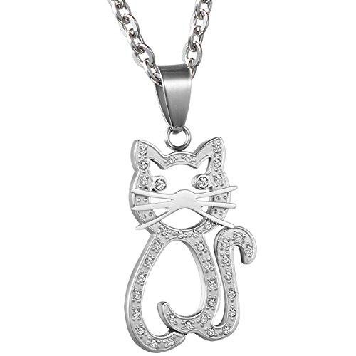 collana donna gatto OIDEA Collana per Donna Collana in Acciaio Inox con Pendente Gatto Hollow Mosaico Strass Regalo per Amante Argento