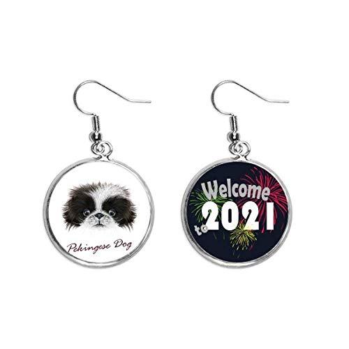 Süßer Pekinese-Hund, Tierohr-Anhänger, Ohrringe, Schmuck, 2021, Schwarz und Weiß