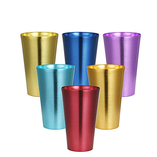 Aluminum Tumblers Cups Set of 6 Color Retro Metal Shatter Resistant Stackable Drinking 20oz