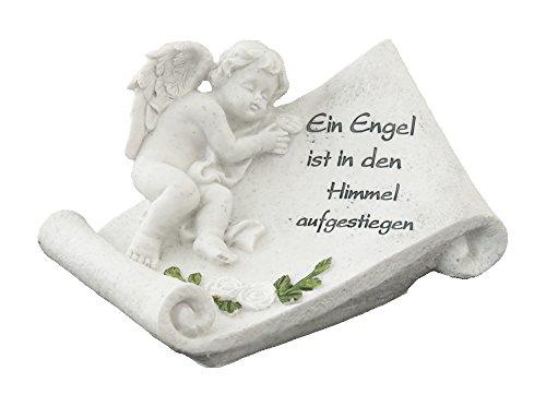 Decoline Grabschmuck Engel und Schriftrolle mit Inschrift 19cm